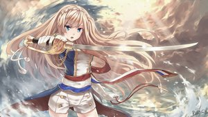 Rating: Safe Score: 209 Tags: anthropomorphism blonde_hair blue_eyes braids elbow_gloves gloves rain_(icetuofei) richelieu shorts sword uniform weapon zhanjian_shaonu User: MyCuteImouto