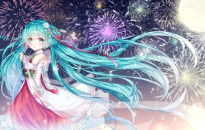 Rating: Safe Score: 56 Tags: chinese_clothes fireworks hatsune_miku moon vocaloid yuri_to_hizakura User: FormX