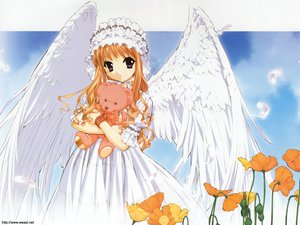 Rating: Safe Score: 8 Tags: feathers flowers goth-loli headdress lolita_fashion orange_hair purple_eyes teddy_bear tenhiro_naoto wings User: Oyashiro-sama