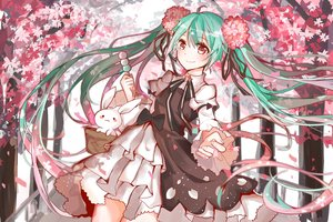 Rating: Safe Score: 119 Tags: aqua_hair bow brown_eyes bunny flowers food hatsune_miku long_hair ribbons twintails vocaloid yy58531214 User: Flandre93