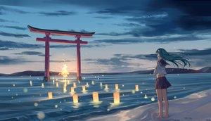 Rating: Safe Score: 122 Tags: barefoot beach clouds green_hair kochiya_sanae long_hair scenic seifuku skirt sky sunset torii vocaloid water zicai_tang User: Flandre93