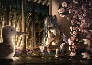 Rating: Safe Score: 81 Tags: animal aqua_eyes aqua_hair bird cherry_blossoms flowers hatsune_miku japanese_clothes kimono laru_(larupom) long_hair petals vocaloid water User: FormX