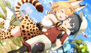 Rating: Safe Score: 48 Tags: 2girls animal_ears anthropomorphism catgirl elbow_gloves gloves haribote_(tarao) hug kaban kemono_friends lucky_beast_(kemono_friends) pantyhose serval shorts tail thighhighs User: RyuZU