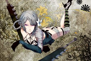 Rating: Safe Score: 54 Tags: bandage braids breasts flowers gloves gray_hair kaine nier purple_eyes sword weapon User: Tensa