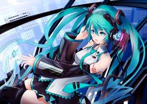 Rating: Safe Score: 63 Tags: ajigo aqua_eyes aqua_hair hatsune_miku headphones long_hair tie twintails vocaloid User: FormX