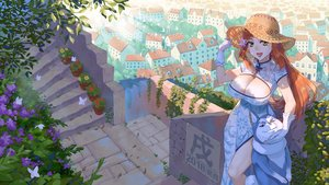 Rating: Safe Score: 37 Tags: animal breasts brown_eyes building butterfly chinese_clothes chinese_dress city cleavage dog dress ge_xi gloves hat long_hair orange_hair original stairs User: RyuZU
