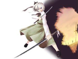 Rating: Safe Score: 3 Tags: katana konpaku_youmu sword touhou weapon white_hair User: Oyashiro-sama