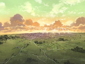 Rating: Safe Score: 34 Tags: building city clouds haibane_renmei landscape nobody scenic sky sunset tree User: Oyashiro-sama
