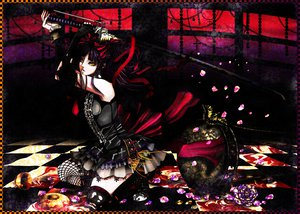 Rating: Safe Score: 73 Tags: bow butterfly flowers gothic katana kneehighs original petals purple_hair ribbons skirt sword thighhighs torn_clothes twintails weapon yellow_eyes User: HawthorneKitty