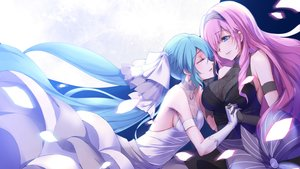 Rating: Safe Score: 44 Tags: 2girls aqua_hair blue_eyes breasts cleavage dress hatsune_miku headdress long_hair megurine_luka mikoto_(mio) pink_hair see_through shoujo_ai sideboob tears vocaloid wedding_attire User: mattiasc02