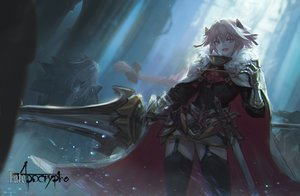 Rating: Safe Score: 75 Tags: all_male armor astolfo cape dress fang fate/apocrypha fate_(series) garter_belt kang_kang_zi male pink_eyes pink_hair stockings sword thighhighs trap weapon User: otaku_emmy