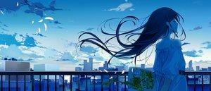 Rating: Safe Score: 66 Tags: ashima black_hair building city clouds dress flowers long_hair original petals rooftop scenic sky User: RyuZU