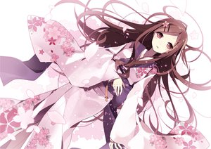 Rating: Safe Score: 145 Tags: brown_eyes brown_hair flowers hijiri_(resetter) japanese_clothes kimono long_hair original petals User: opai