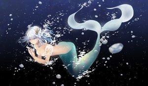 Rating: Safe Score: 44 Tags: breasts bubbles choker cleavage gradient mermaid original ruca short_hair tail underwater water white_hair User: BattlequeenYume