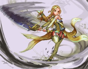 Rating: Safe Score: 95 Tags: blonde_hair dress edenfox green_eyes inubouzaki_fuu long_hair panties signed sword thighhighs underwear weapon yuuki_yuuna_wa_yuusha_de_aru User: Flandre93