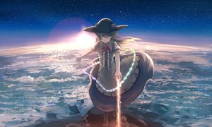 Rating: Safe Score: 59 Tags: blue_hair brown_eyes clouds dress hat hinanawi_tenshi long_hair magic mifuru sky sword touhou weapon User: RyuZU