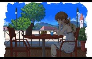 Rating: Safe Score: 64 Tags: animal brown_hair building cat dress drink flask_(pandora) original tree User: Flandre93
