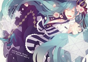 Rating: Safe Score: 51 Tags: aqua_hair crown flowers hatsune_miku saine_(artist) vocaloid User: FormX