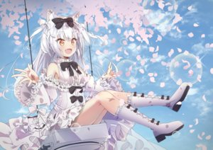 Rating: Safe Score: 63 Tags: animal_ears anthropomorphism azur_lane blush boots brown_eyes catgirl dress fang loli_ta1582 lolita_fashion long_hair petals white_hair yukikaze_(azur_lane) User: BattlequeenYume