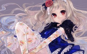 Rating: Safe Score: 82 Tags: dress flowers original pisuke red_eyes thighhighs User: opai