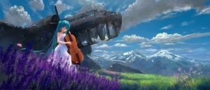 Rating: Safe Score: 86 Tags: aircraft aqua_eyes aqua_hair clouds dress flowers hatsune_miku headdress instrument long_hair sky sombernight summer_dress vocaloid User: Flandre93