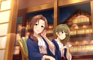 Rating: Safe Score: 14 Tags: 2girls building drink idolmaster idolmaster_cinderella_girls idolmaster_cinderella_girls_starlight_stage japanese_clothes kawashima_mizuki moon night tagme_(artist) takagaki_kaede User: RyuZU