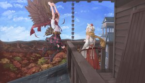 Rating: Safe Score: 57 Tags: 2girls animal_ears brown_hair building clouds dress feathers forest hat himekaidou_hatate inubashiri_momiji japanese_clothes katana kneehighs long_hair miko scarf short_hair skirt sky sword tagme_(artist) touhou tree weapon white_hair wings wolfgirl User: BattlequeenYume