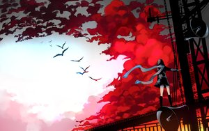 Rating: Safe Score: 100 Tags: animal bird clouds kagerou_project kneehighs scarf seifuku sennro skirt sky tateyama_ayano User: FormX