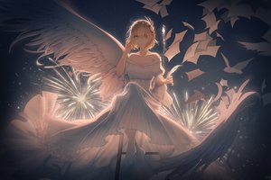 Rating: Safe Score: 71 Tags: animal anthropomorphism aqua_eyes bird blonde_hair dress eyepatch feathers fireworks lingmuqianyi paper prince_of_wales short_hair wings zhanjian_shaonu User: Fepple