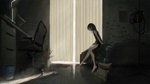 Rating: Safe Score: 49 Tags: barefoot bed black_hair computer dark dress kagumanikusu long_hair original User: BattlequeenYume