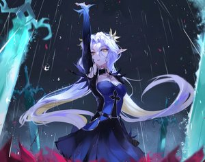 Rating: Safe Score: 75 Tags: breasts briar_witch_iseria_(epic7) cleavage epic7 long_hair pointed_ears rain sword vardan water weapon User: Dreista