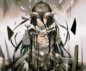 Rating: Safe Score: 169 Tags: albedo black_hair breasts cleavage cropped demon elbow_gloves gloves horns long_hair overlord so-bin succubus wings yellow_eyes User: RyuZU