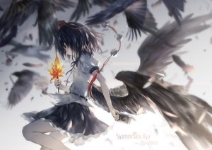 Rating: Safe Score: 86 Tags: avamone black_hair camera feathers red_eyes shameimaru_aya short_hair skirt touhou watermark wings User: RyuZU
