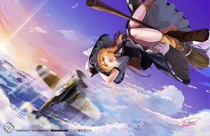 Rating: Safe Score: 50 Tags: aircraft blonde_hair boots clouds dress hat kirisame_marisa long_hair signed sky touhou watermark witch x-boy yellow_eyes User: w7382001