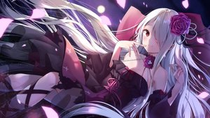 Rating: Safe Score: 86 Tags: flat_chest goth-loli lolita_fashion long_hair purple red_eyes ribbons white_hair yoshida_iyo User: mattiasc02