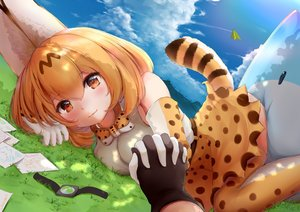 Rating: Safe Score: 40 Tags: animal_ears anthropomorphism bow catgirl cat_smile clouds elbow_gloves gloves grass kemono_friends lucky_beast_(kemono_friends) modoi_(star) orange_eyes orange_hair paper serval short_hair skirt sky tail thighhighs User: otaku_emmy