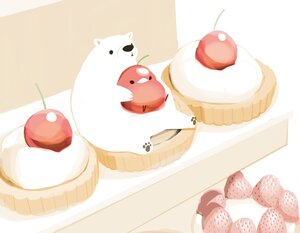 Rating: Safe Score: 12 Tags: animal bear bird chai_(artist) cherry cropped food fruit nobody original polychromatic signed strawberry User: otaku_emmy