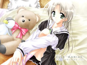 Rating: Safe Score: 12 Tags: animal bed chomo club_maniax gray_hair green_eyes penguin socks teddy_bear User: Oyashiro-sama