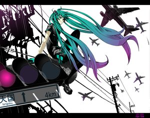 Rating: Safe Score: 58 Tags: aqua_eyes aqua_hair blue_eyes blue_hair hatsune_miku headphones koi_wa_sensou_(vocaloid) long_hair pantyhose purple_hair skirt sky twintails vocaloid User: SennoMakoto