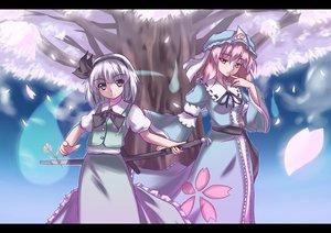 Rating: Safe Score: 44 Tags: katana konpaku_youmu saigyouji_yuyuko sword touhou weapon User: Oyashiro-sama