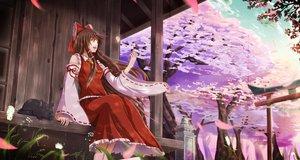 Rating: Safe Score: 51 Tags: animal cat cherry_blossoms grass hakurei_reimu japanese_clothes manoma miko petals summer torii touhou tree User: mattiasc02