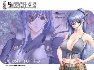 Rating: Safe Score: 70 Tags: armor blue_hair breasts cleavage erect_nipples eyepatch long_hair neev ogushi_yuniko ponytail sano_toshihide shichinin_no_online_gamers yellow_eyes User: Oyashiro-sama