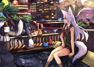 Rating: Safe Score: 29 Tags: aliasing animal animal_ears breasts building cleavage foxgirl haik long_hair original penguin red_eyes seifuku tail tree water white_hair User: otaku_emmy