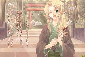 Rating: Safe Score: 27 Tags: animal asura_fantasy_online bird blonde_hair forest green_eyes japanese_clothes kuga_tsukasa long_hair pointed_ears torii tree watermark wink User: Oyashiro-sama