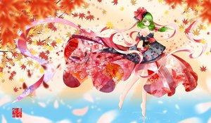 Rating: Safe Score: 106 Tags: autumn barefoot bow dusk/dawn green_hair japanese_clothes kagiyama_hina kimono leaves touhou User: opai