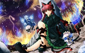 Rating: Safe Score: 23 Tags: animal_ears blue_hair bow braids catgirl dress fire halo jyun kaenbyou_rin long_hair red_eyes red_hair ribbons skull tail touhou wings zombie_fairy User: Tensa