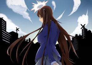 Rating: Safe Score: 7 Tags: brown_eyes brown_hair building city clouds glasses halo kazakiri_hyouka long_hair to_aru_majutsu_no_index windmill User: HawthorneKitty
