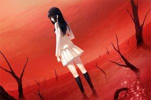 Rating: Safe Score: 74 Tags: black_eyes black_hair kara_no_shoujo kneehighs kuchiki_touko long_hair red seifuku skirt sugina_miki tree User: luckyluna