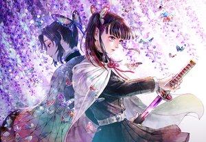 Rating: Safe Score: 24 Tags: butterfly cape flowers katana kimetsu_no_yaiba kochou_shinobu micho sword tsuyuri_kanao weapon User: FormX