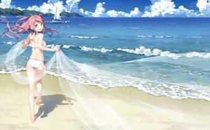 Rating: Safe Score: 240 Tags: ass barefoot beach bikini boat breasts clouds kantoku kurumi_(kantoku) long_hair original pink_eyes pink_hair scan sky swimsuit third-party_edit User: Dummy